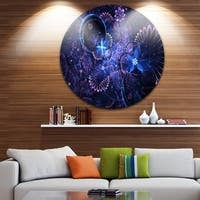 Designart 'Dark Blue and Pink Fractal Flowers' Floral Disc Metal Artwork