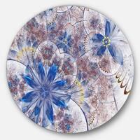 Designart 'Blue Brown Grungy Floral Shapes' Floral Large Disc Metal Wall art