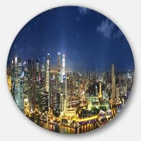 Designart 'Singapore Skyscrapers Panorama' Cityscape Circle Wall Art