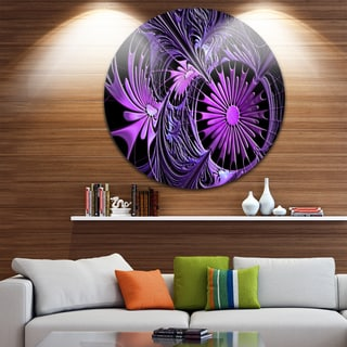 Designart 'Embossed Purple Floral Shapes' Floral Circle Wall Art