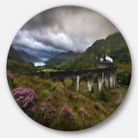 Designart 'Glenfinnan Viaduct, Scotland' Landscape Photo Round Metal Wall Art