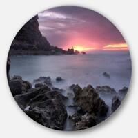 Designart 'Sunset at Samarra Seashore Sintra' Contemporary Seascape Round Wall Art