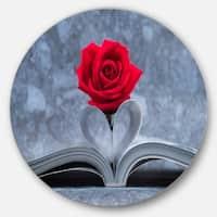 Designart 'Red Rose Inside the Book' Floral Art Large Disc Metal Wall art