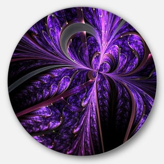 Designart 'Embossed Dark Purple Floral Shapes' Floral Round Metal Wall Art