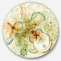 Designart 'Yellow Green Grungy Floral Shapes' Floral Round Wall Art