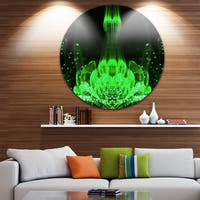 Designart 'Glossy Bright Green Fractal Flower' Floral Circle Wall Art