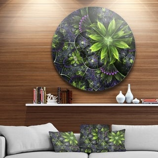 Designart 'Glossy Green Purple Fractal Flowers' Floral Disc Metal Artwork