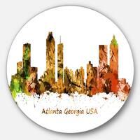 Designart 'Atlanta Georgia Skyline' Cityscape Painting Large Disc Metal Wall art