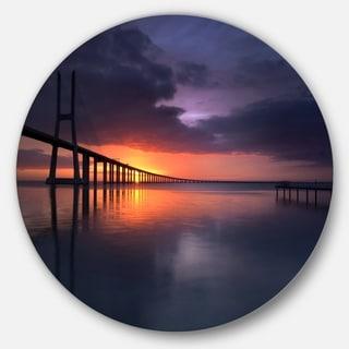 Designart Vasco Da Gama Bridge Portugal Sea Pier And Bridge Disc Metal Artwork Overstock 14252221
