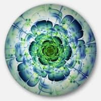 Designart 'Blue Mandala Fractal Flower' Floral Disc Metal Wall Art