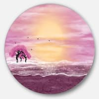 Designart 'Water and Pink Trees in Desert' Landscape Art Disc Metal Wall Art