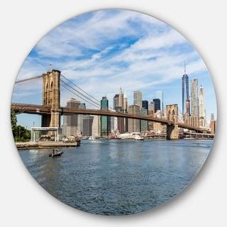 Designart 'Summer Day Brooklyn Bridge' Cityscape Round Metal Wall Art
