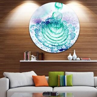 Designart 'Glossy Light Blue Fractal Flower' Floral Round Metal Wall Art