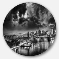 Designart 'Amazing Night in New York City' Cityscape Round Metal Wall Art
