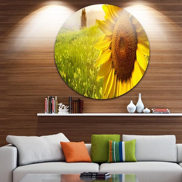 Shop Designart \'Yellow Field with Big Sunflower\' Landscape Art Round ...