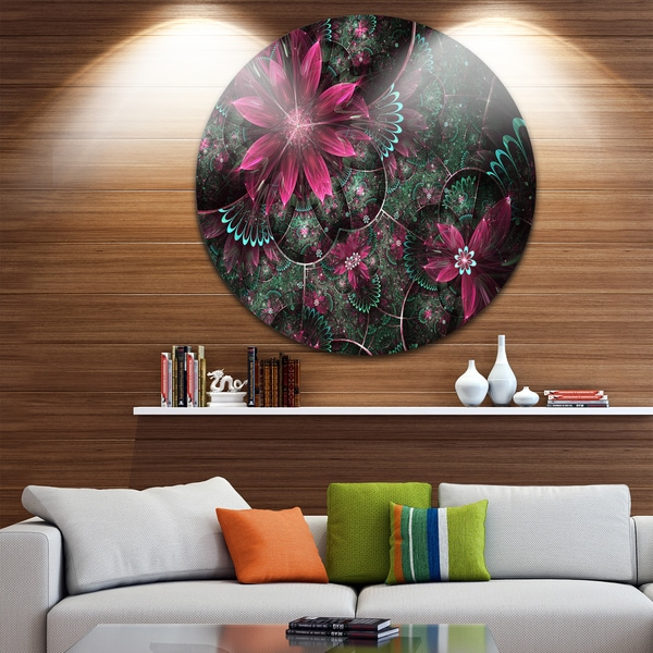 Designart 'Glossy Green and Red Fractal Flowers' Floral Disc Metal Wall Art