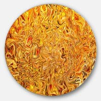 Designart 'Textured Flowing Yellow' Abstract Art Round Wall Art