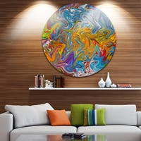 Designart 'Fractal Flowing Colors' Abstract Art Disc Metal Wall Art