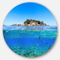 Designart 'Under and Above the Waters' Seascape Photo Disc Metal Wall Art