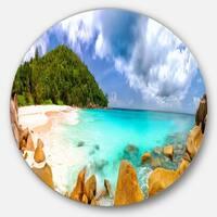 Designart 'Seychelles Beach Panorama' Seascape Photo Disc Metal Artwork