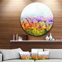 Designart 'Abstract Cosmos of Colorful Flowers' Flower Large Disc Metal Wall art