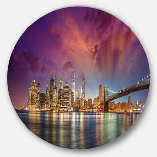 Designart 'New York Manhattan Skyline with Clouds' Cityscape Disc Metal Wall Art