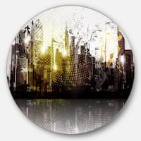 Designart 'Grunge City Panorama' Cityscape Disc Metal Artwork