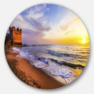 Designart 'Castle Santa Severa over Sunset Italy' Contemporary Seascape Large Disc Metal Wall art