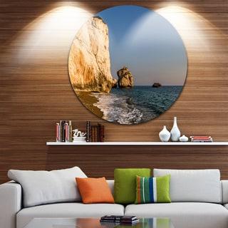 Designart 'Petra tou Romiou or Aphrodite's Rock' Contemporary Seascape Round Wall Art