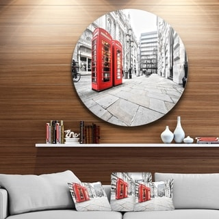 Designart 'Phone Booths on Street' Cityscape Circle Wall Art