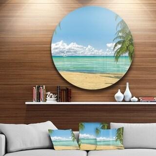 Designart 'Palms at Caribbean Beach' Seashore Photo Disc Metal Wall Art
