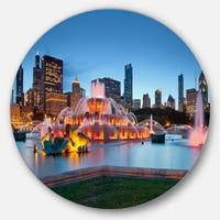Designart 'Colorful Buckingham Fountain' Cityscape Round Wall Art