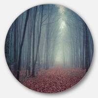 Designart 'Retro Style Misty Path in Forest' Landscape Photo Disc Metal Wall Art