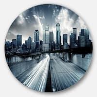 Designart 'City with Blue Tint' Cityscape Disc Metal Wall Art