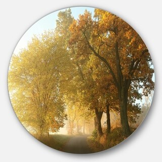 Designart 'Rural Road Under Green Trees' Landscape Photo Disc Metal Artwork