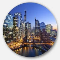 Designart 'Chicago River with Bridges at Sunset' Cityscape Circle Wall Art