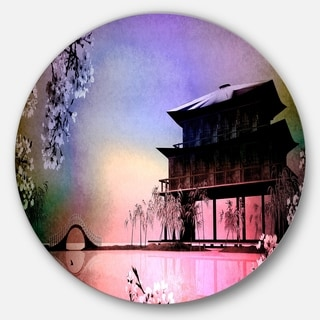 Designart 'Rural Landscape with Flowers' Landscape Painting Circle Wall Art