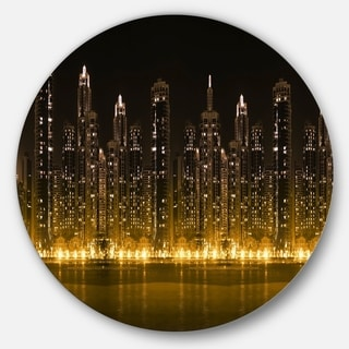 Link to Designart 'Modern City with Illuminated Skyscrapers' Cityscape Disc Metal Wall Art Similar Items in Metal Art