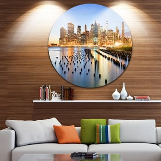 Designart 'New York Skyline with Skyscrapers' Cityscape Large Disc Metal Wall art