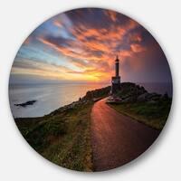 Designart 'Punta Nariga Lighthouse Spain' Seashore Photo Disc Metal Wall Art