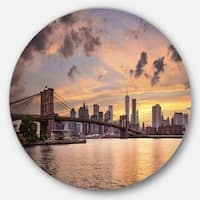 Designart 'New York City Skyline under Dark Clouds' Cityscape Circle Wall Art