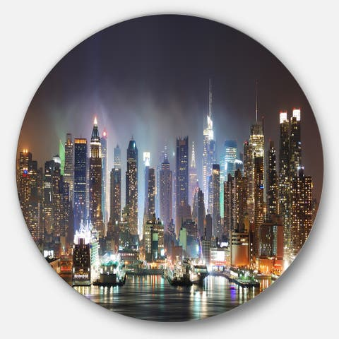 Designart 'New York Times Square in Blue Light' Cityscape Large Disc Metal Wall art