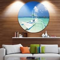 Designart 'Boat in Blue Sea Water' Seashore Disc Metal Wall Art