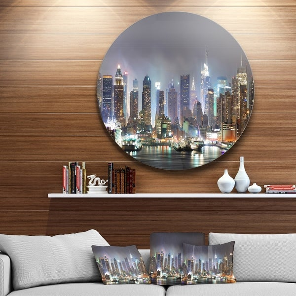 Designart 'New York City Skyscrapers in Blue Shade' Cityscape Round Wall Art