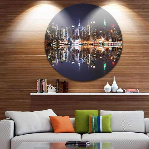 Designart 'New York City Skyscrapers in Blue Shade' Cityscape Round Wall Art