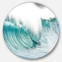 Designart 'Massive Blue Waves Breaking Beach' Contemporary Seascape Large Circle Metal Wall art
