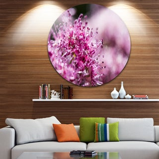 Designart 'Bright Pink Little Flowers' Flower Round Wall Art
