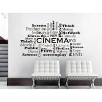 Movie Room Cinema Film Words Interior Home Decor Sticker Decall size 44x52 Color Black