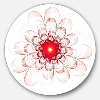 Designart 'Full Bloom Fractal Flower in Red' Flower Disc Metal Artwork