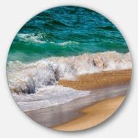 Designart 'Typical Atlantic Seashore in Summertime' Contemporary Seascape Large Disc Metal Wall art